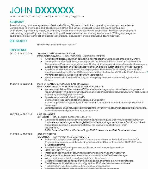 linux network administrator resume example cms it services