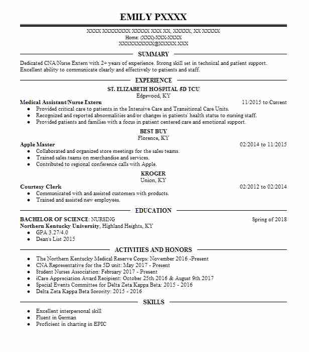 Medical Assistant/Nurse Extern  Master Electrician Resume