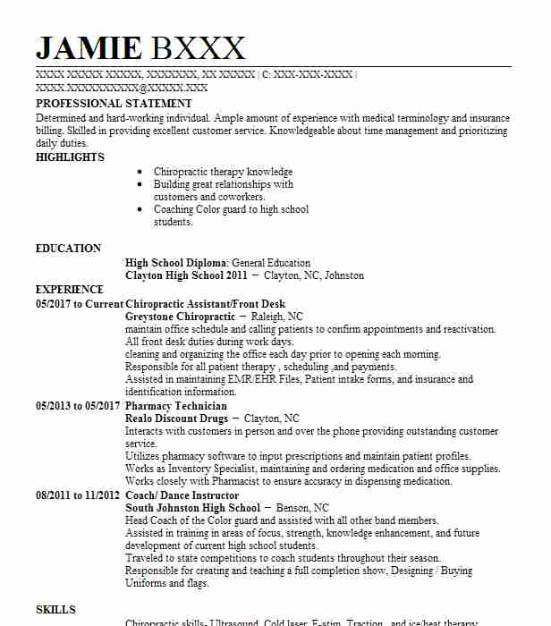 Chiropractic resumes chiropractic assistant resume sample for Cover letter for chiropractic assistant