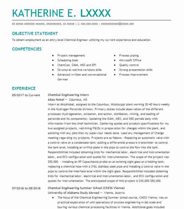 chemical engineering internship resume example research