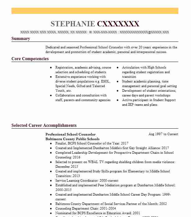 top school counseling resume - School Counselor Resume Sample