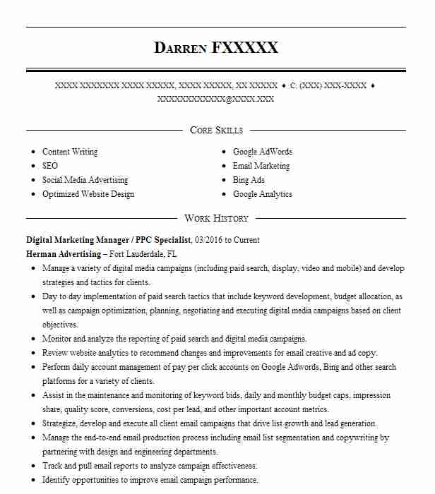 ppc specialist resume example ideal digital solutions  ids