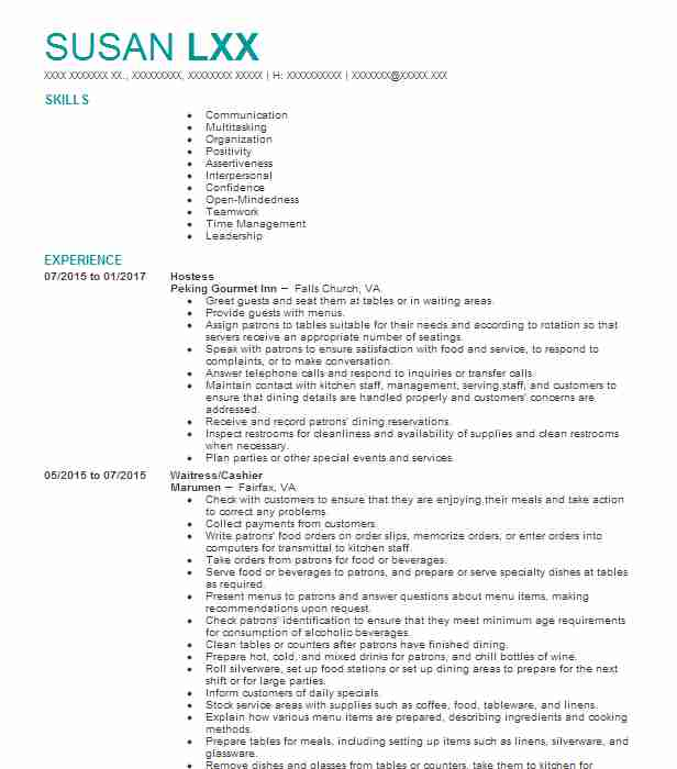 hostess resume sample