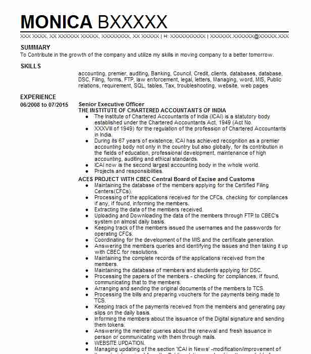 bank officer  senior executive assistant resume example