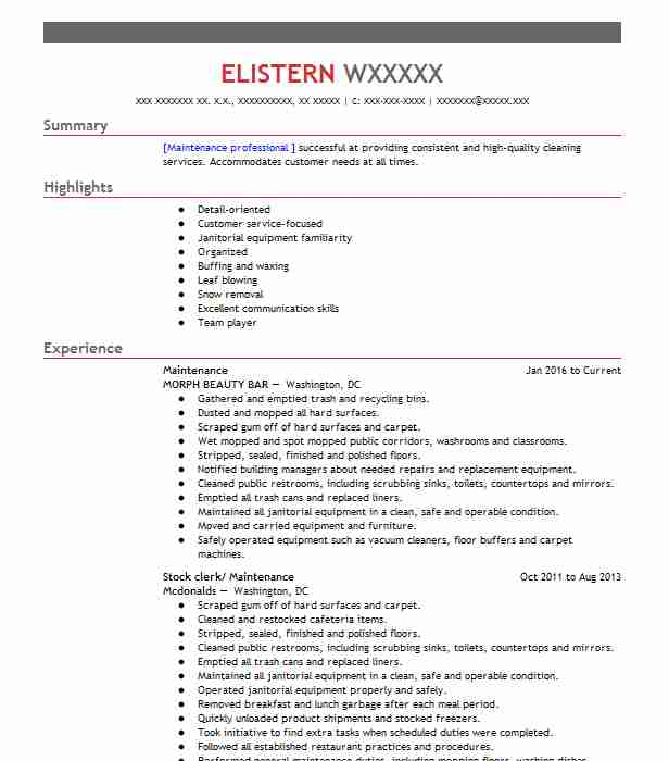 cleaning service resume