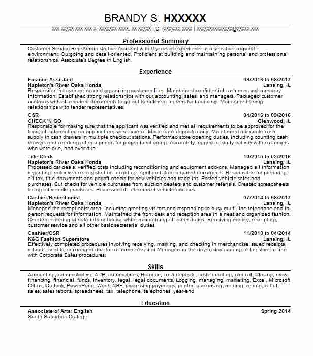 Finance Assistant Resume Sample