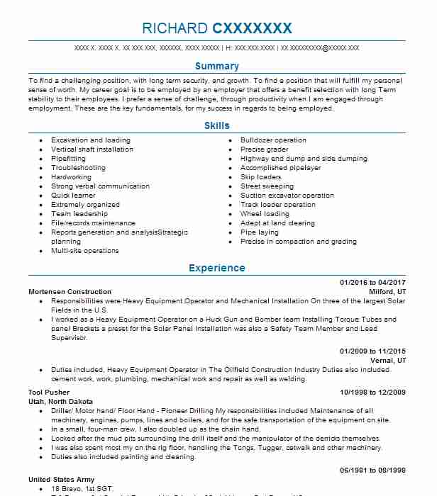 extraction and mining resume examples construction resumes