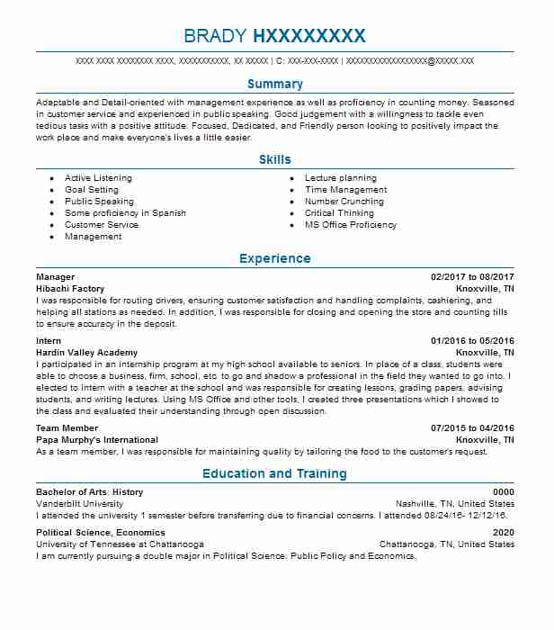 top political science resume - Political Science Resume Sample