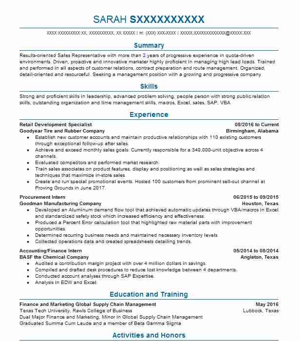 retail development specialist resume example goodyear tire and