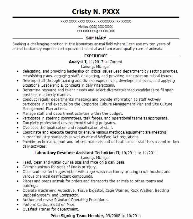 analyst i - Animal Science Resume Templates