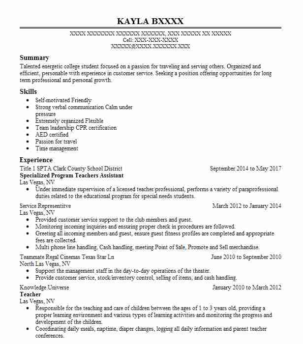 319 Special Education Resume Examples In Nevada Livecareer