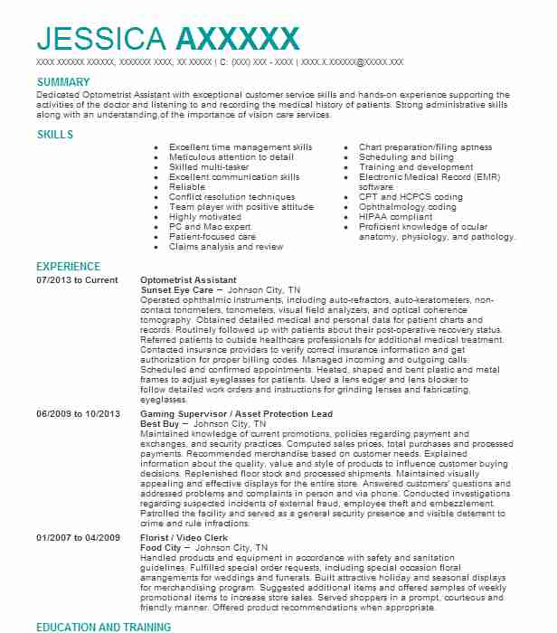 96 optometry resume examples in tennessee livecareer