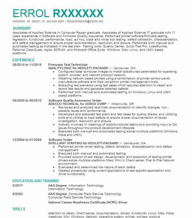 Etl Tester Resume Sample: Pos Tester Resume Sample