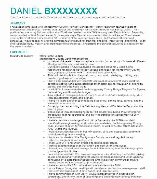 1338 highway maintenance resume examples