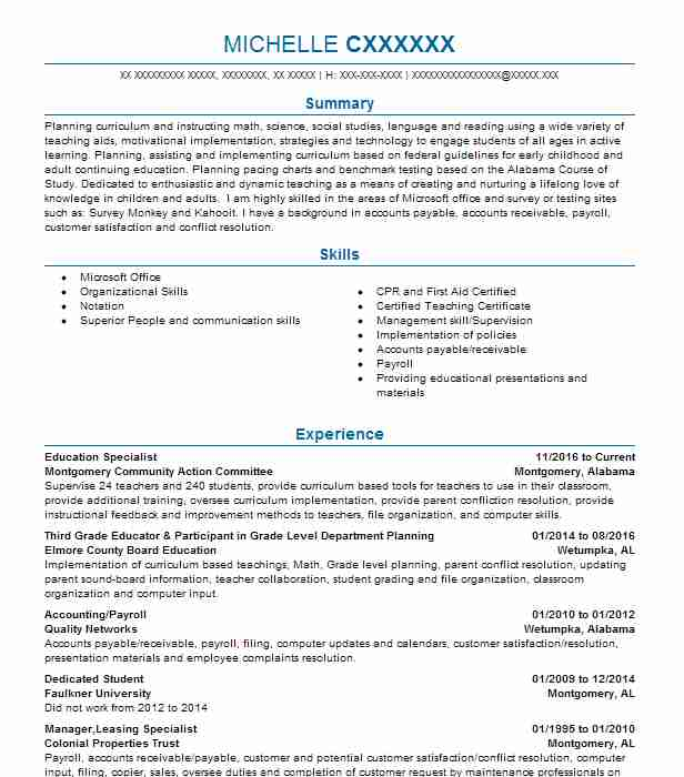 143 Continuing Education Resume Examples in Alabama   LiveCareer