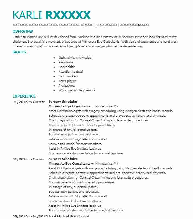 surgery scheduler resume sample