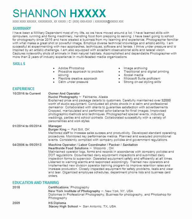 20 Photography (Art, Fashion And Design) Resume Examples in Alaska ...