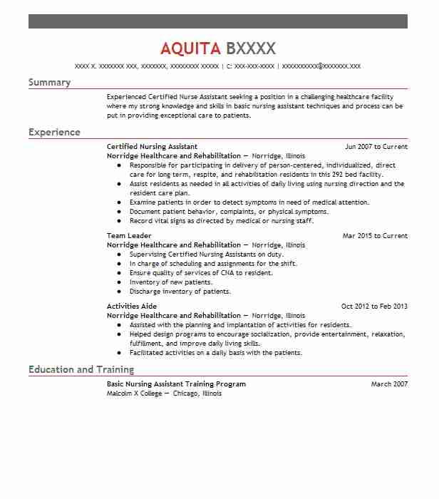 certified nursing assistant resume objectives resume sample livecareer