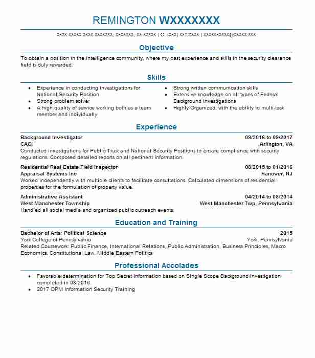 background investigator resume sample livecareer