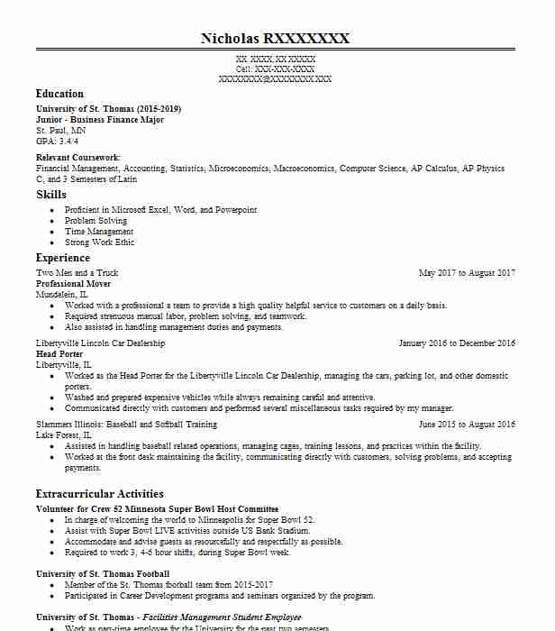 professional mover  packer resume example family moving and
