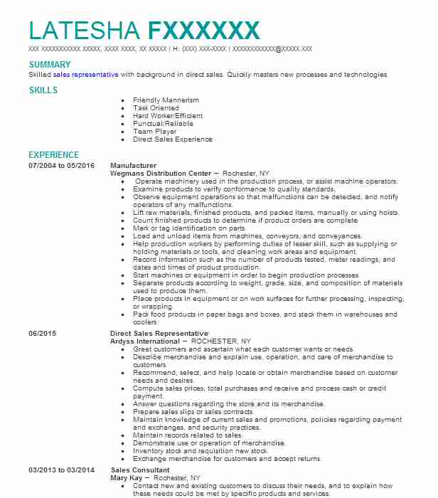 sales associate resume example  pandora jewelry