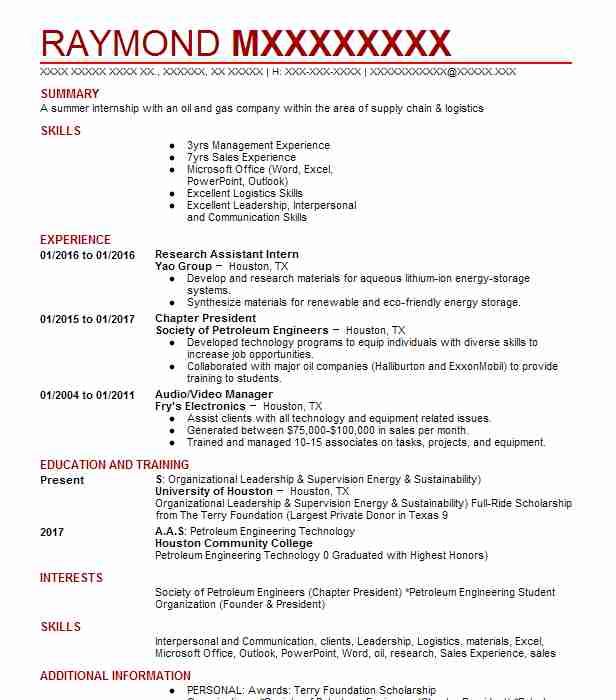 petroleum geologist resume sample