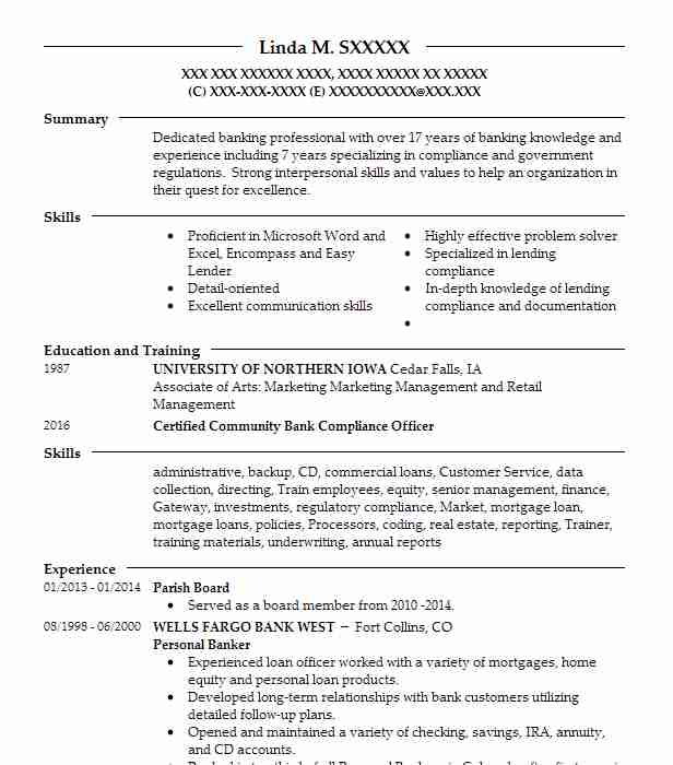personal banking officer sample resume sample resume for bankers - Regulatory Compliance Officer Sample Resume