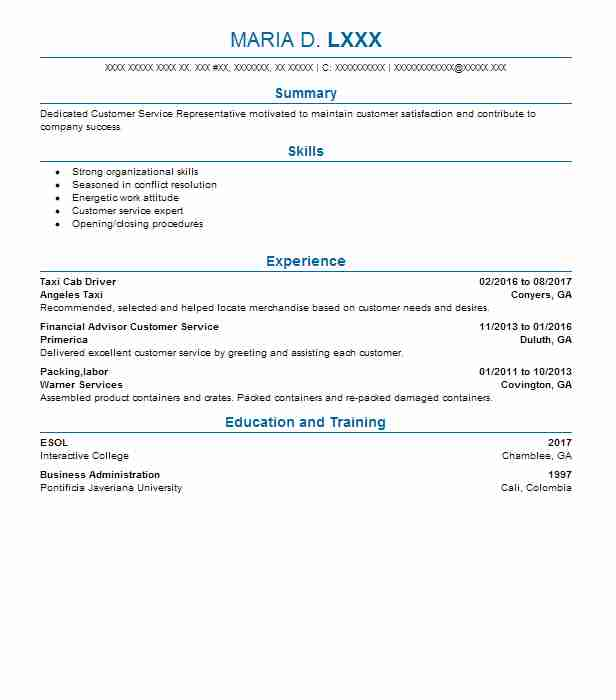 taxi cab driver resume sample