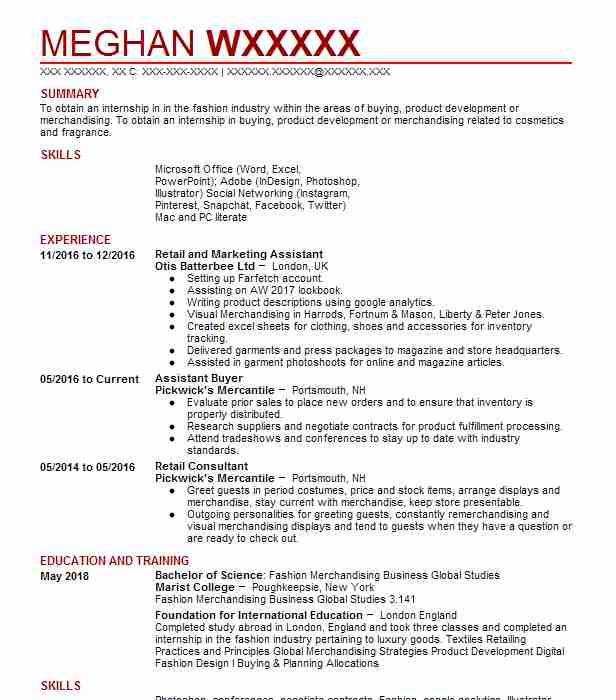 56 Fashion (Art, Fashion And Design) Resume Examples in New ...