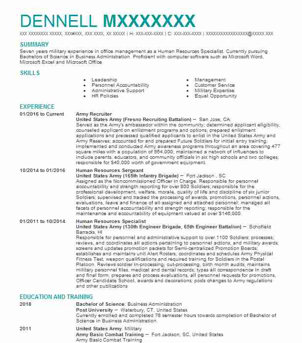 Army Recruiter Resume Example Us Army Recruiting
