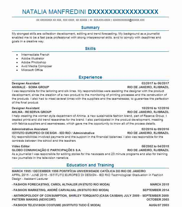 3590 Fashion Art And Design Resume Examples In New York