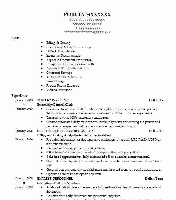 externshipgeneral clerk - Medical Biller Resume Sample
