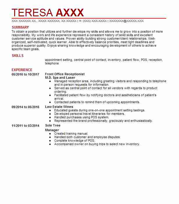 front office receptionist resume sample