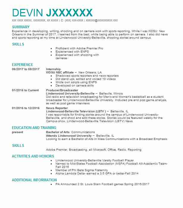 on air news anchor radio personality resume example cumulus media