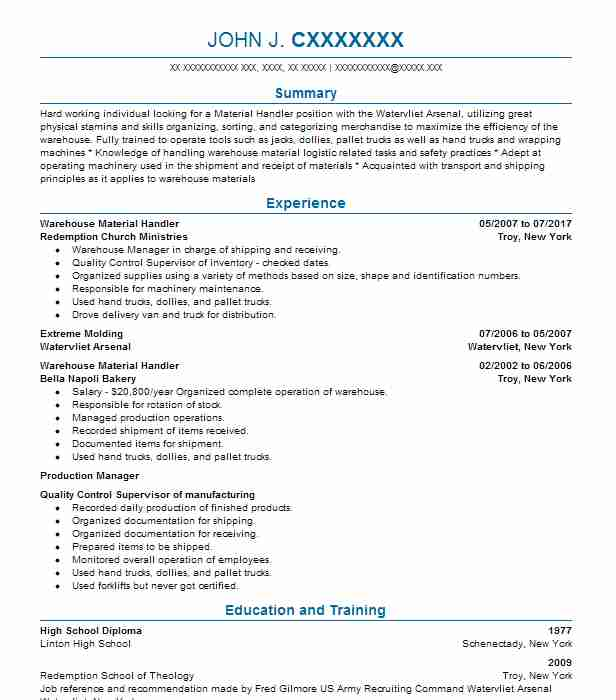 Warehouse Material Handler Resume Sample Livecareer