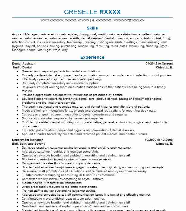Dental Assistant  Dental School Resume