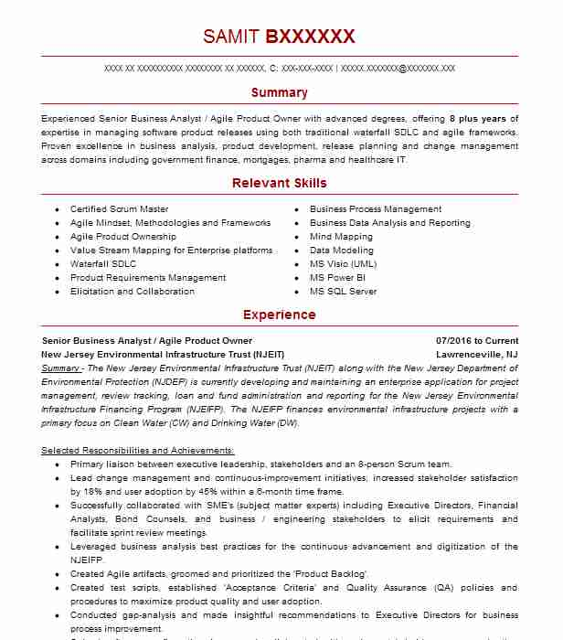 Senior Product Owner Resume Example Swiftpage Cave Creek