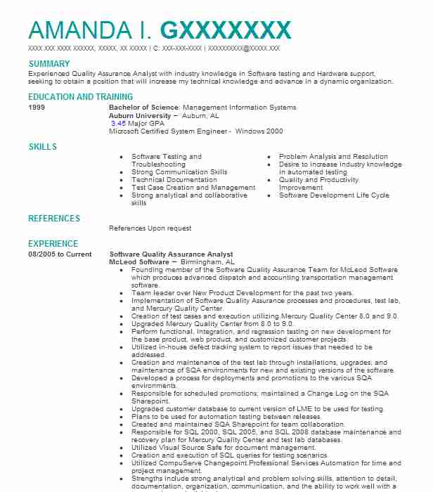 software quality assurance analyst resume example regis