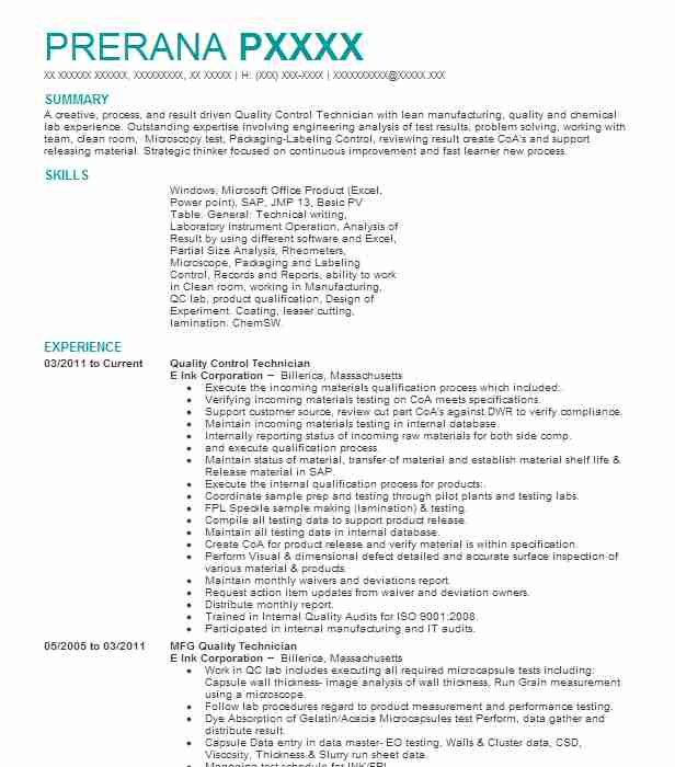 Quality Control Technician Resume Example Shamrock Foods