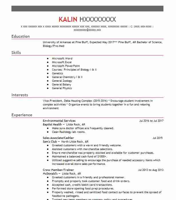 emergency room scribe resume example  fredericksburg