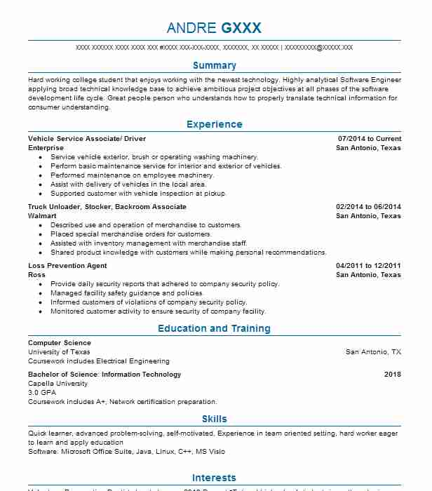 Best Inventory Associate And Driver Resume Example | LiveCareer