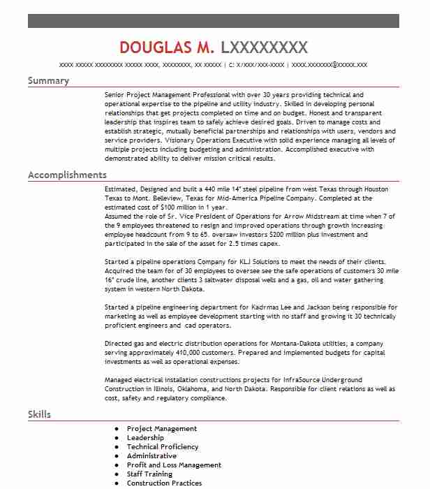 44 Energy And Utilities Resume Examples in North Dakota | LiveCareer