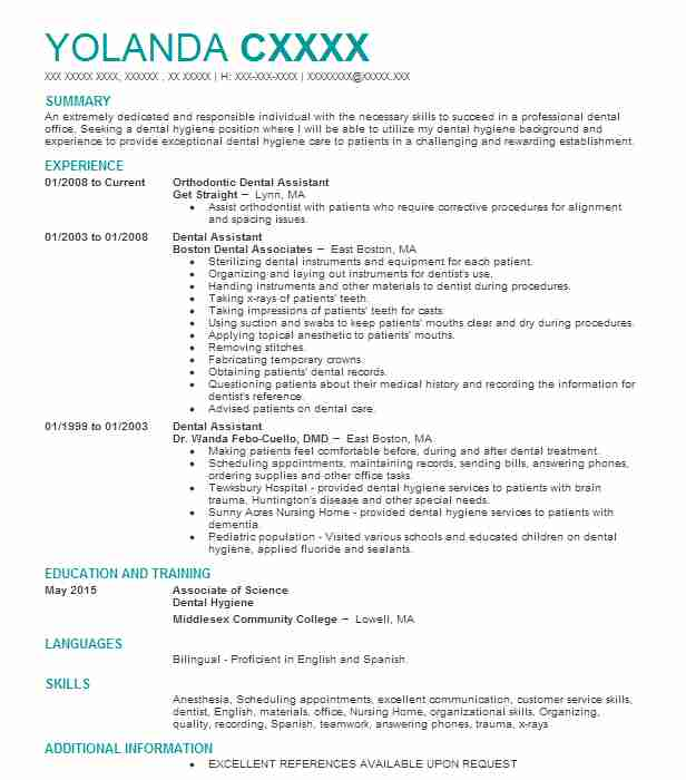 Orthodontic Dental Assistant  Dental Hygienist Resume