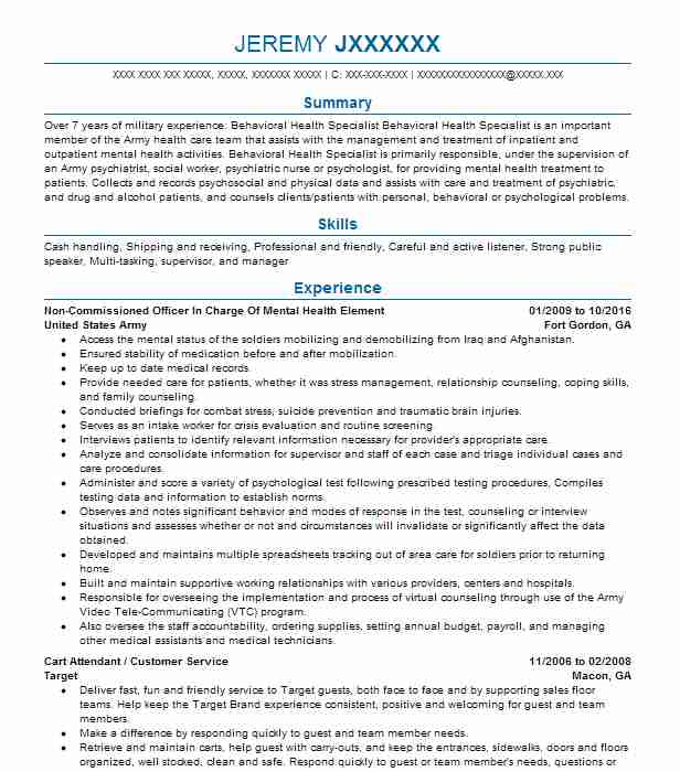 non commissioned officer in charge of mental health element - Programmers Resume