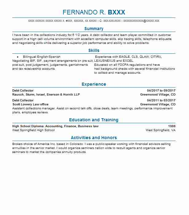 Debt Collector Resume Sample | Collector Resumes | LiveCareer