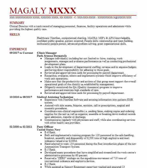 clinic manager resume sample