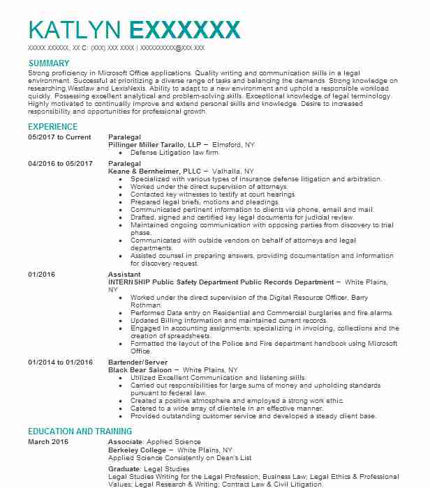 Best Paralegal Resume Example | LiveCareer