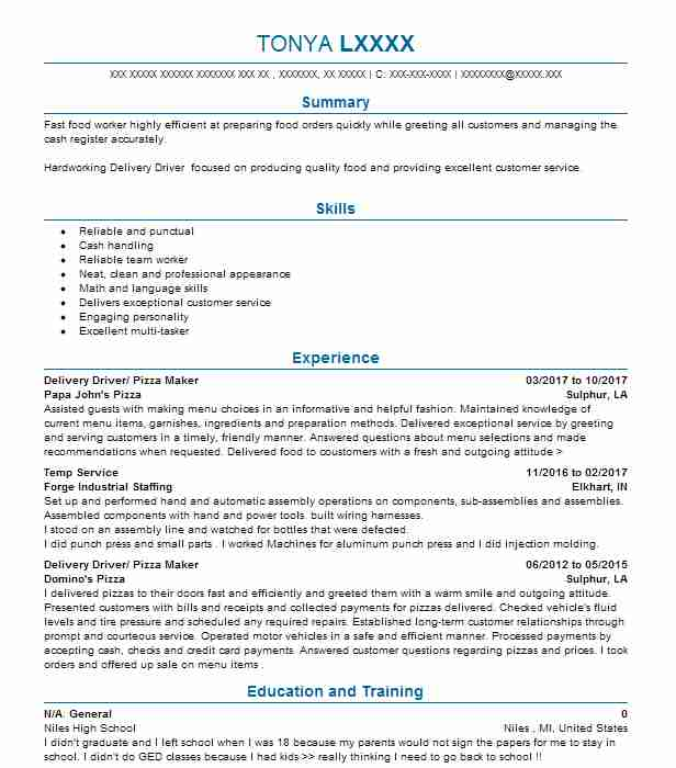 delivery driver pizza maker - Pizza Maker Resume