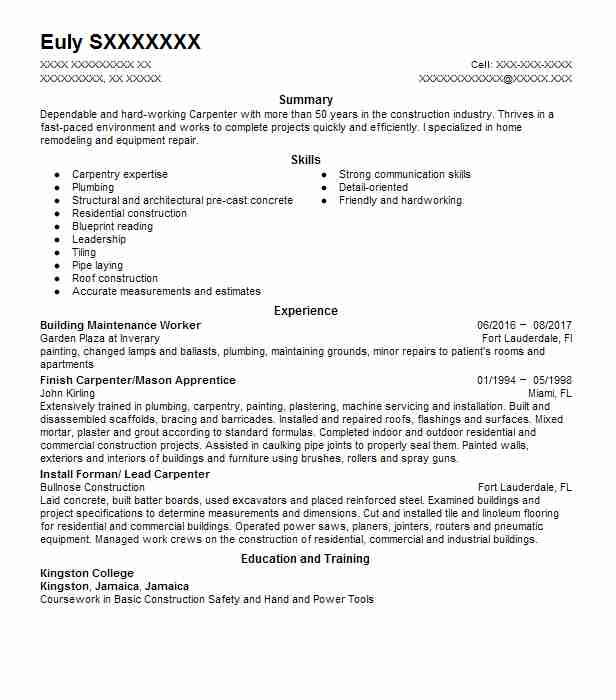 Resume Samples Building Maintenance