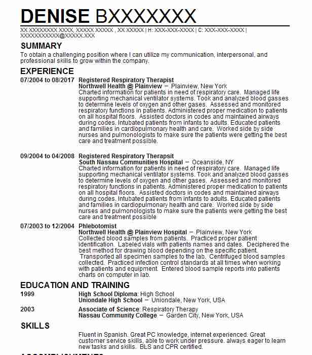 Registered Respiratory Therapist  Respiratory Therapy Resume